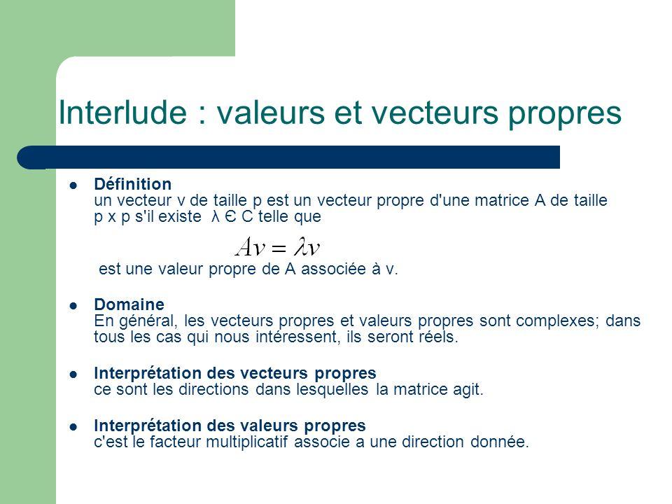 Interlude : valeurs et vecteurs propres Définition un vecteur v de taille p est un vecteur propre d'une matrice A de taille p x p s'il existe λ Є C te
