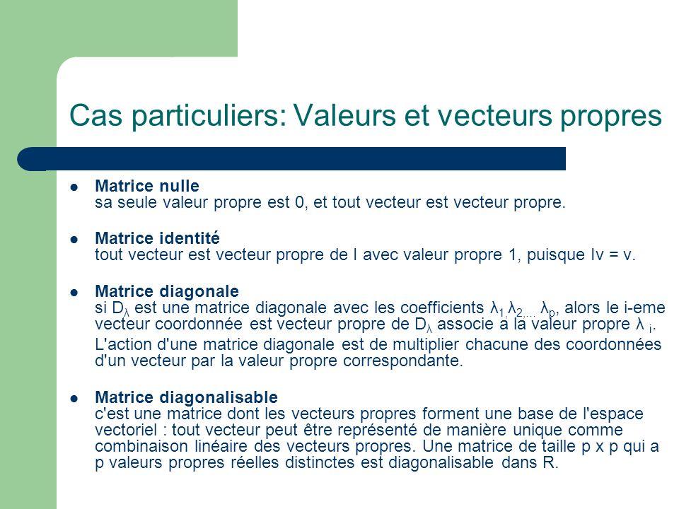 Cas particuliers: Valeurs et vecteurs propres Matrice nulle sa seule valeur propre est 0, et tout vecteur est vecteur propre. Matrice identité tout ve