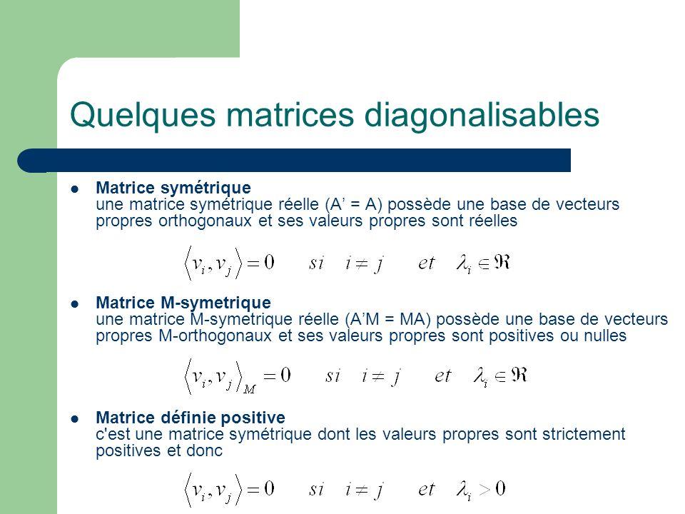 Quelques matrices diagonalisables Matrice symétrique une matrice symétrique réelle (A = A) possède une base de vecteurs propres orthogonaux et ses val