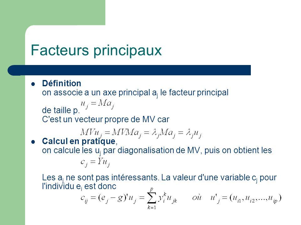 Facteurs principaux Définition on associe a un axe principal a j le facteur principal de taille p. C'est un vecteur propre de MV car Calcul en pratiqu