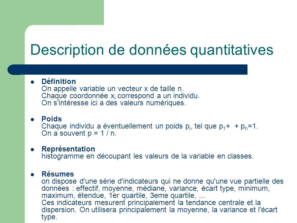 Description de données quantitatives Définition On appelle variable un vecteur x de taille n. Chaque coordonnée x i correspond a un individu. On s'int