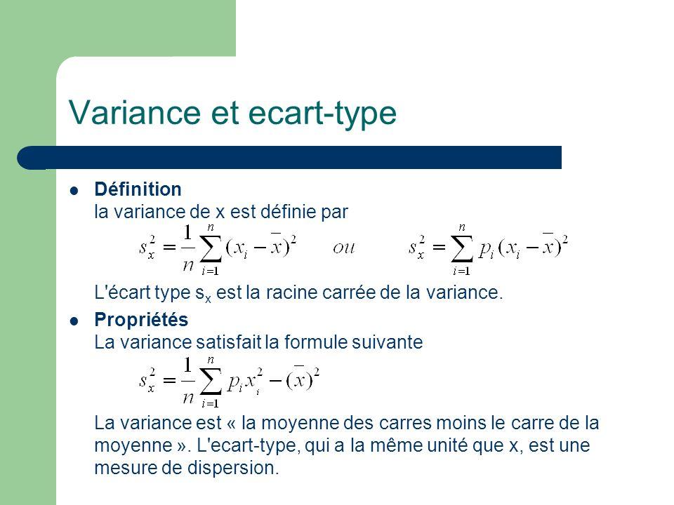Variance et ecart-type Définition la variance de x est définie par L'écart type s x est la racine carrée de la variance. Propriétés La variance satisf