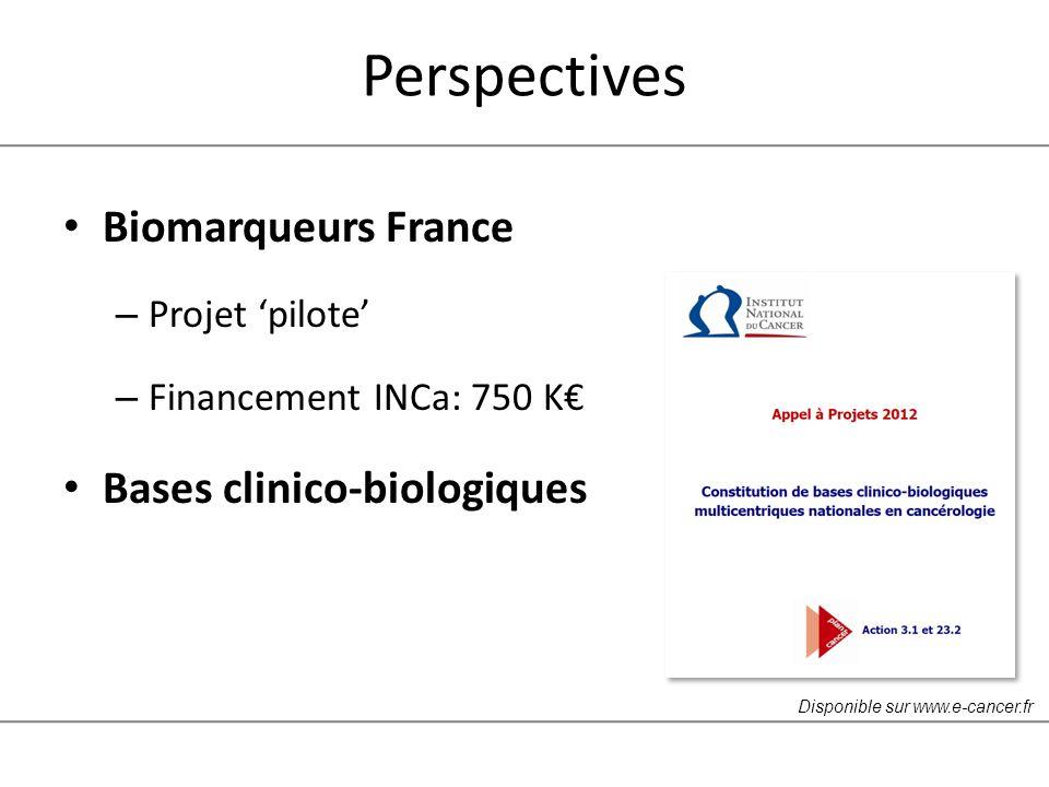 Perspectives Biomarqueurs France – Projet pilote – Financement INCa: 750 K Bases clinico-biologiques Disponible sur www.e-cancer.fr