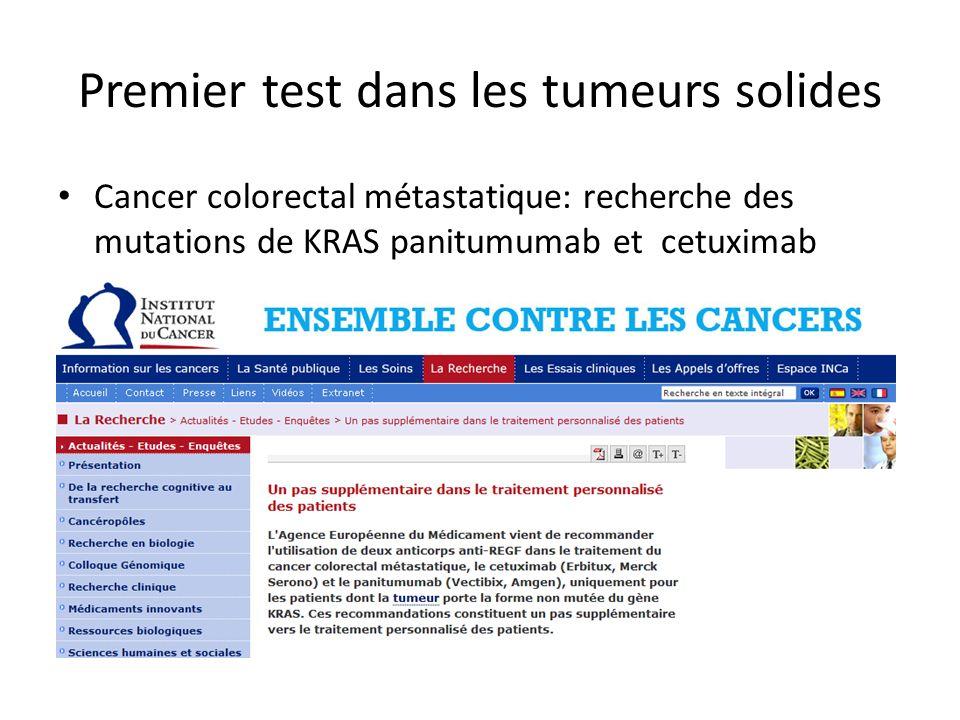 Cancer colorectal métastatique: recherche des mutations de KRAS panitumumab et cetuximab Premier test dans les tumeurs solides