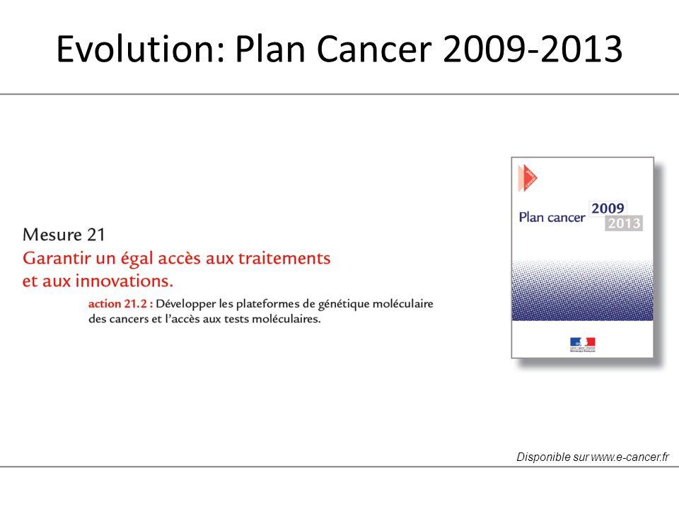 Evolution: Plan Cancer 2009-2013 Disponible sur www.e-cancer.fr