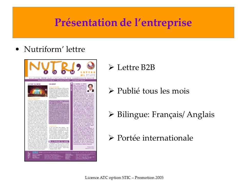 Nutriform lettre Présentation de lentreprise Licence ATC option STIC – Promotion 2005 Lettre B2B Publié tous les mois Bilingue: Français/ Anglais Port