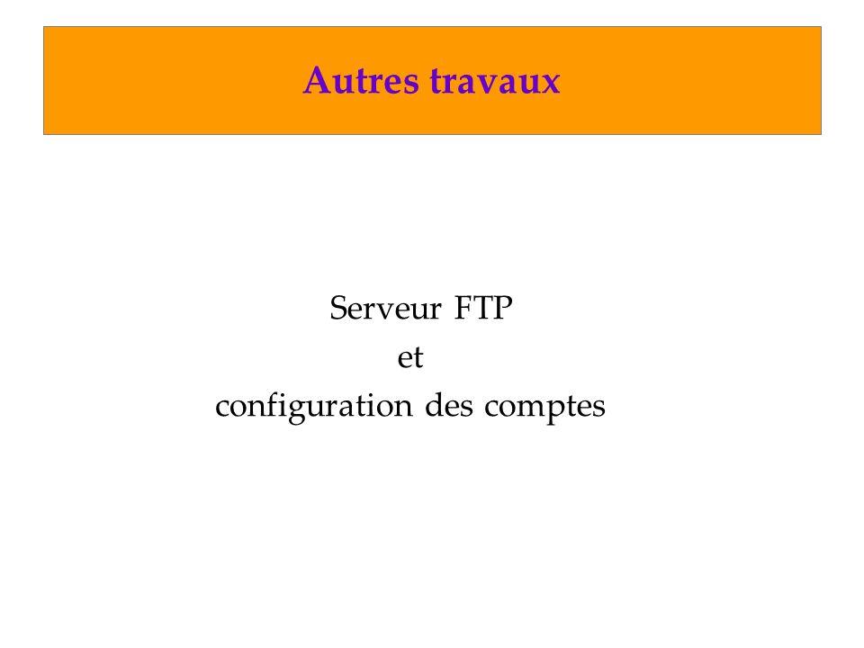 Autres travaux Serveur FTP et configuration des comptes