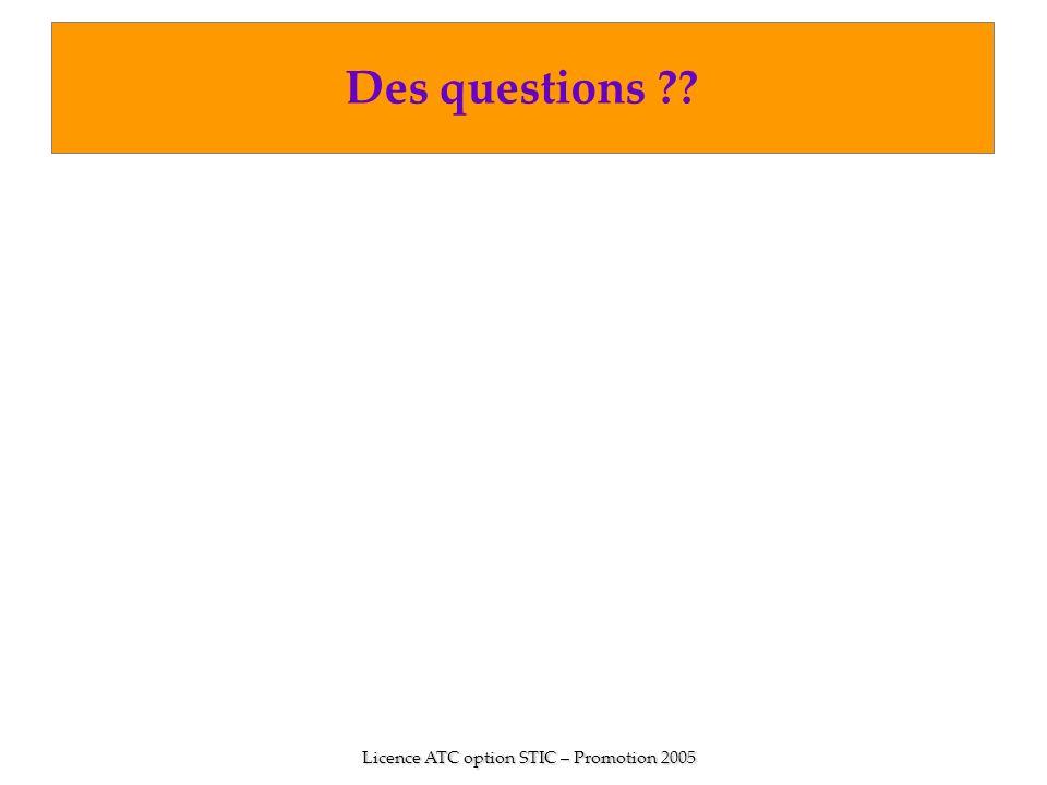 Licence ATC option STIC – Promotion 2005 Des questions ??