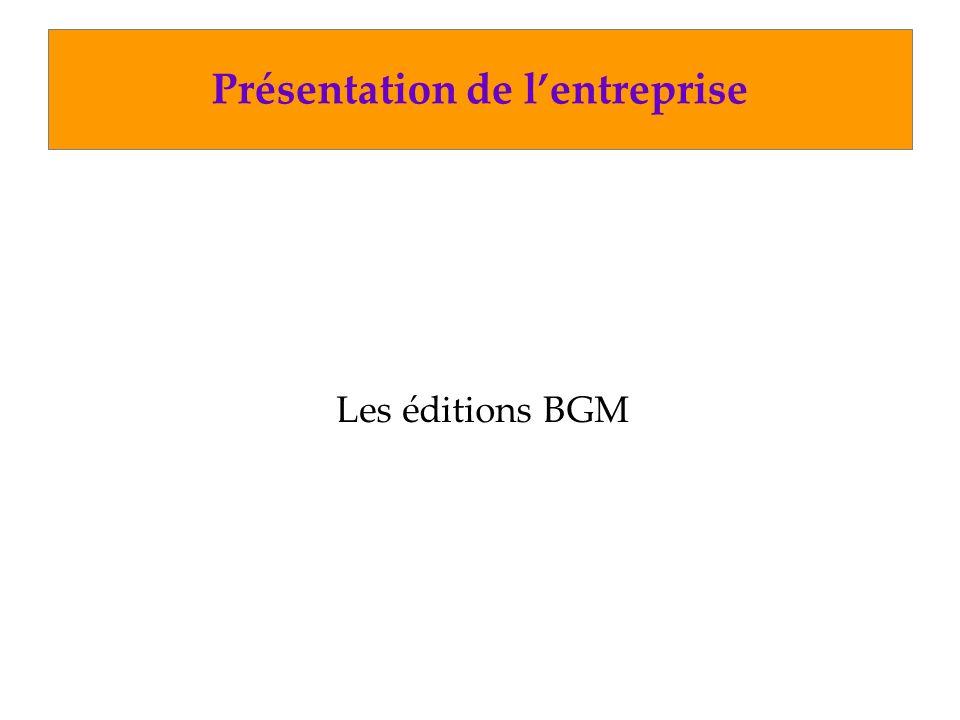 Présentation de lentreprise Les éditions BGM