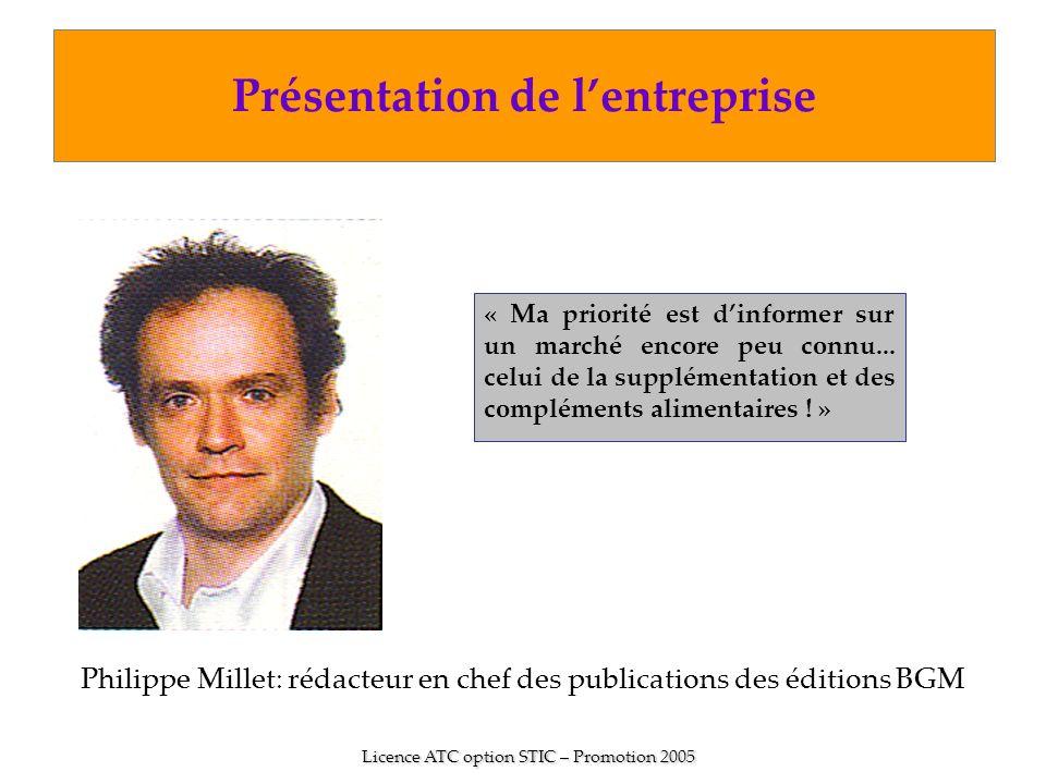 Philippe Millet: rédacteur en chef des publications des éditions BGM Licence ATC option STIC – Promotion 2005 « Ma priorité est dinformer sur un march