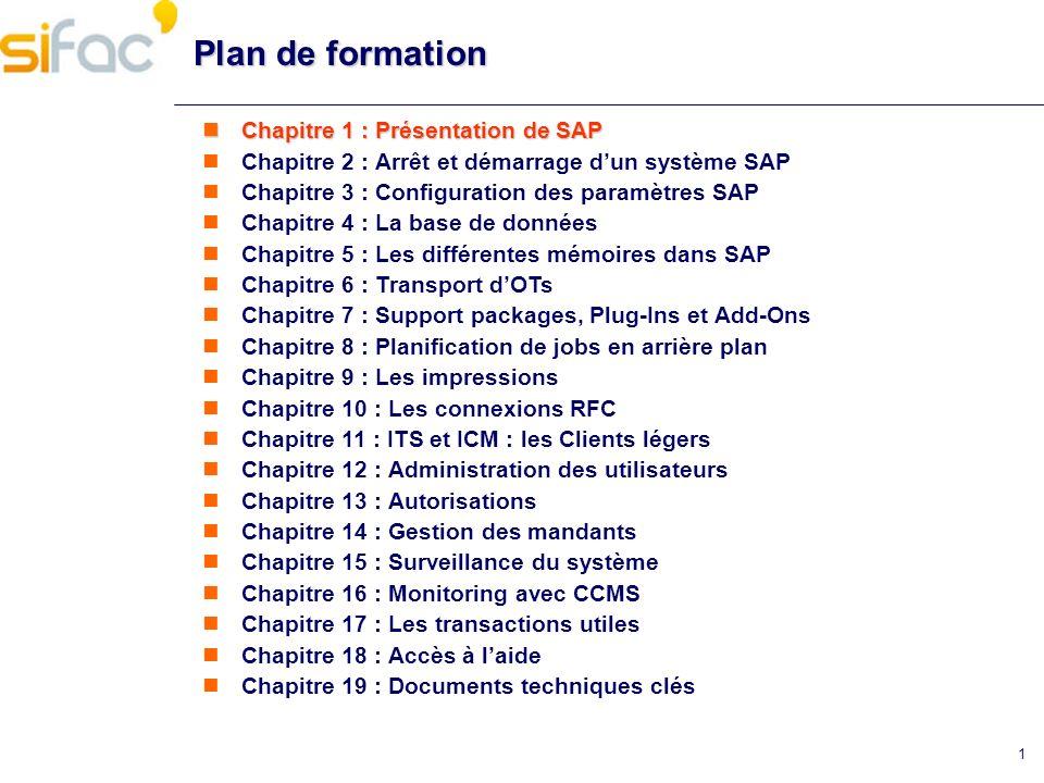 1 Plan de formation Chapitre 1 : Présentation de SAP Chapitre 1 : Présentation de SAP Chapitre 2 : Arrêt et démarrage dun système SAP Chapitre 3 : Con