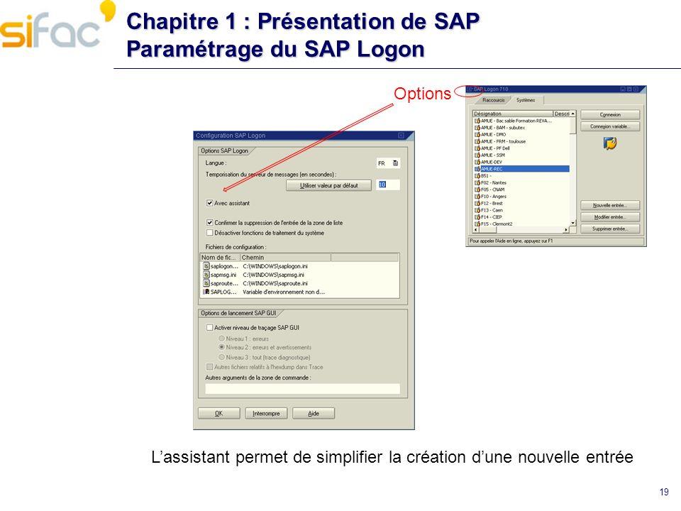19 Chapitre 1 : Présentation de SAP Paramétrage du SAP Logon Options Lassistant permet de simplifier la création dune nouvelle entrée