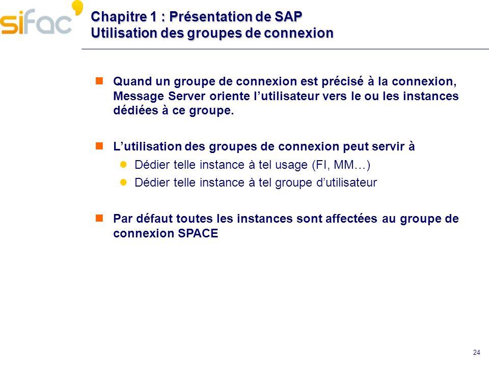 24 Chapitre 1 : Présentation de SAP Utilisation des groupes de connexion Quand un groupe de connexion est précisé à la connexion, Message Server orien