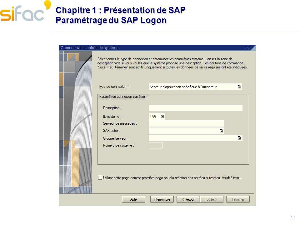 25 Chapitre 1 : Présentation de SAP Paramétrage du SAP Logon
