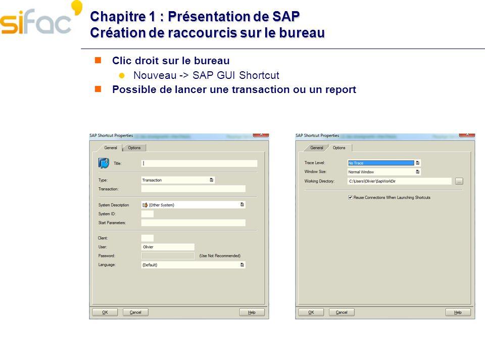 Chapitre 1 : Présentation de SAP Création de raccourcis sur le bureau Clic droit sur le bureau Nouveau -> SAP GUI Shortcut Possible de lancer une tran