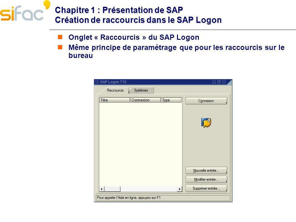 Chapitre 1 : Présentation de SAP Création de raccourcis dans le SAP Logon Onglet « Raccourcis » du SAP Logon Même principe de paramétrage que pour les