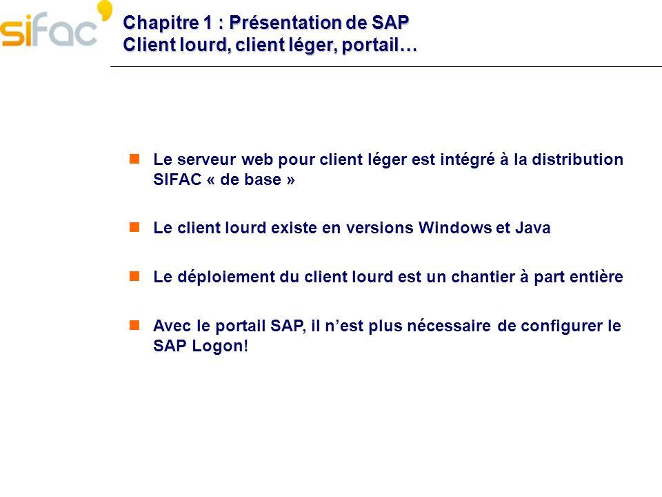 Chapitre 1 : Présentation de SAP Client lourd, client léger, portail… Le serveur web pour client léger est intégré à la distribution SIFAC « de base »