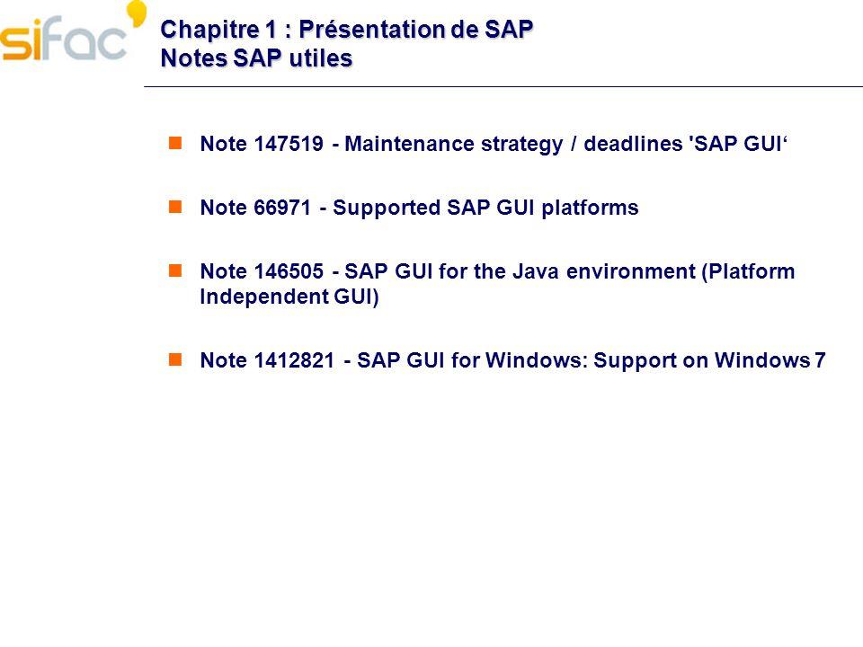 Chapitre 1 : Présentation de SAP Notes SAP utiles Note 147519 - Maintenance strategy / deadlines 'SAP GUI Note 66971 - Supported SAP GUI platforms Not