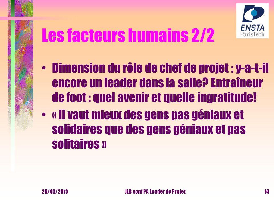 20/03/2013JLB conf PA Leader de Projet Les facteurs humains 2/2 Dimension du rôle de chef de projet : y-a-t-il encore un leader dans la salle? Entraîn