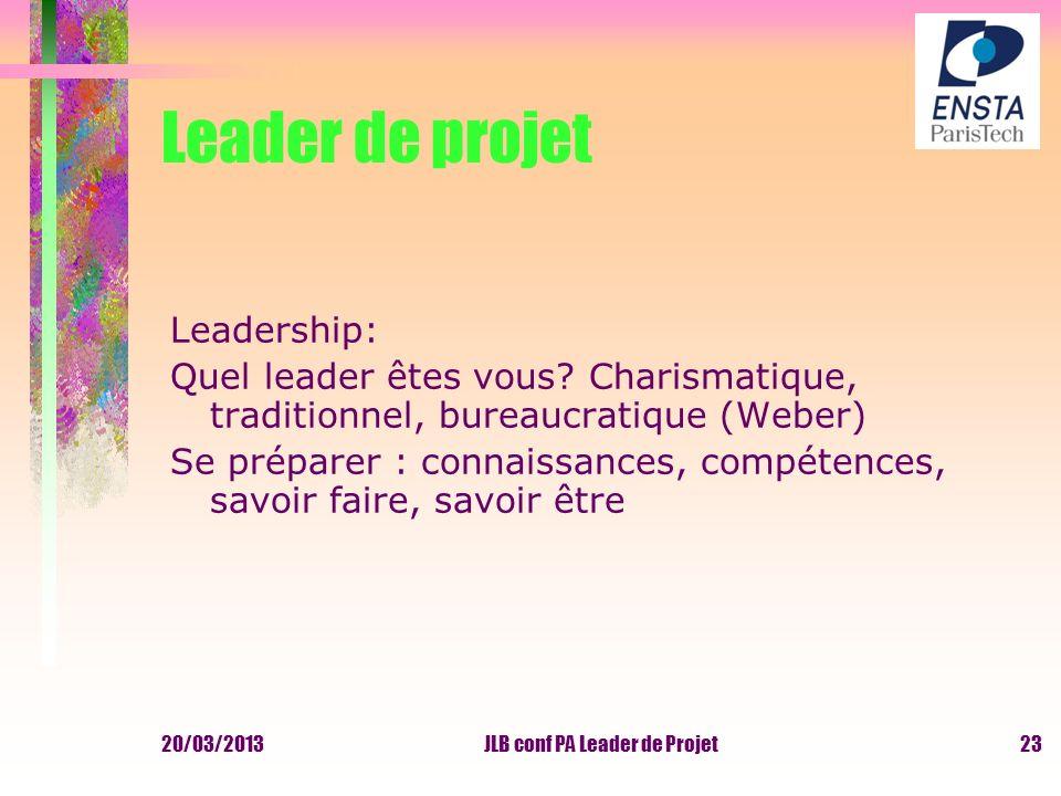 Leader de projet Leadership: Quel leader êtes vous? Charismatique, traditionnel, bureaucratique (Weber) Se préparer : connaissances, compétences, savo