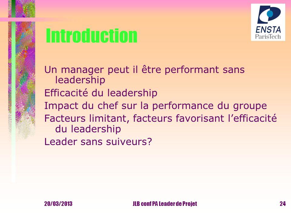 20/03/2013JLB conf PA Leader de Projet Introduction Un manager peut il être performant sans leadership Efficacité du leadership Impact du chef sur la