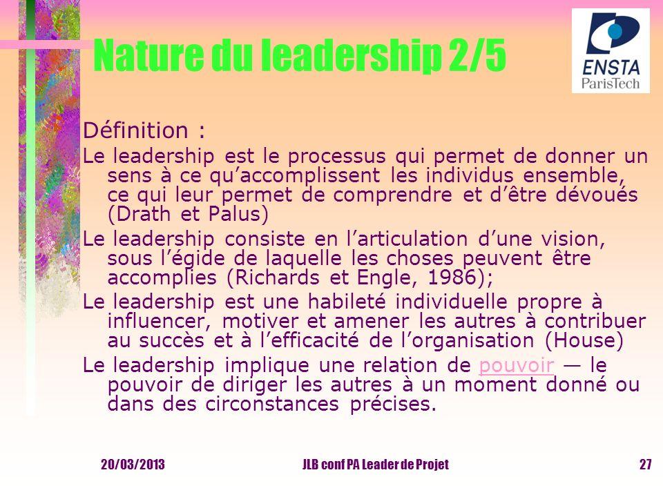 20/03/2013JLB conf PA Leader de Projet Nature du leadership 2/5 Définition : Le leadership est le processus qui permet de donner un sens à ce quaccomp