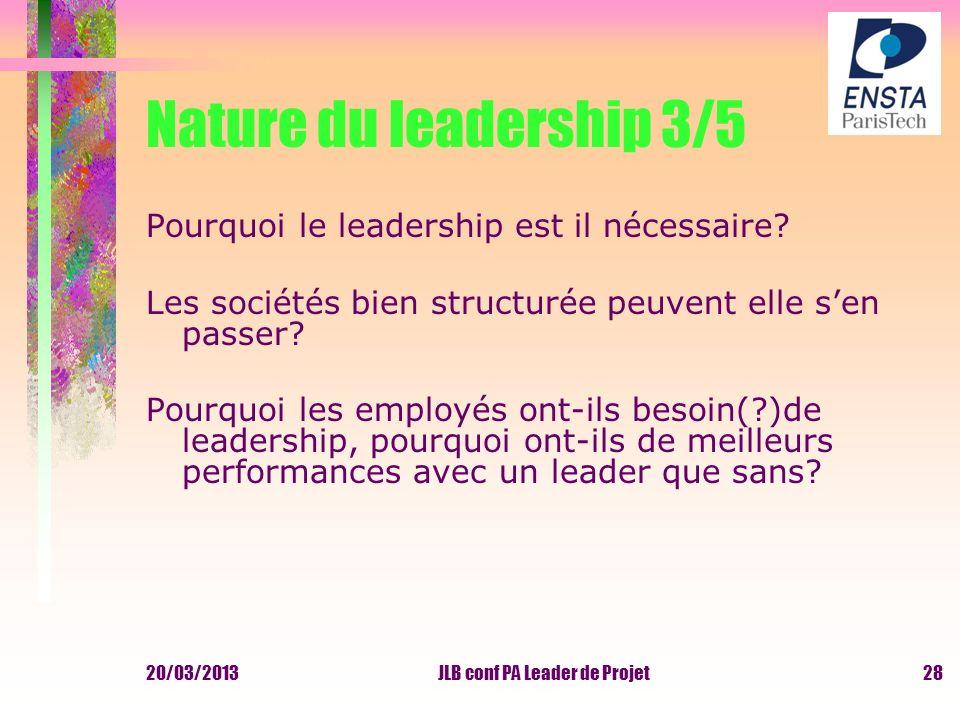 20/03/2013JLB conf PA Leader de Projet Nature du leadership 3/5 Pourquoi le leadership est il nécessaire? Les sociétés bien structurée peuvent elle se