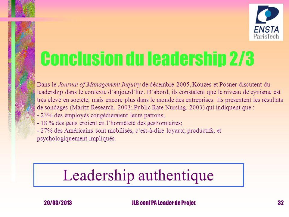 20/03/2013JLB conf PA Leader de Projet Conclusion du leadership 2/3 Dans le Journal of Management Inquiry de décembre 2005, Kouzes et Posner discutent