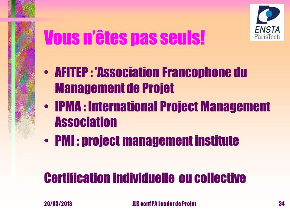 Vous nêtes pas seuls! AFITEP : Association Francophone du Management de Projet IPMA : International Project Management Association PMI : project manag