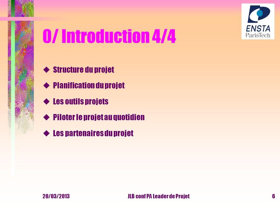 20/03/2013JLB conf PA Leader de Projet6 0/ Introduction 4/4 uStructure du projet uPlanification du projet uLes outils projets uPiloter le projet au qu