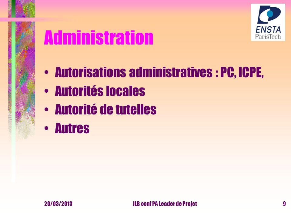 20/03/2013JLB conf PA Leader de Projet9 Administration Autorisations administratives : PC, ICPE, Autorités locales Autorité de tutelles Autres