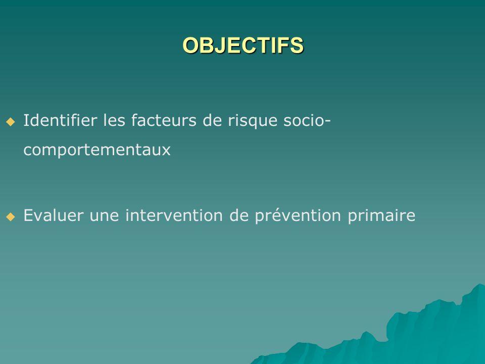 OBJECTIFS Identifier les facteurs de risque socio- comportementaux Evaluer une intervention de prévention primaire