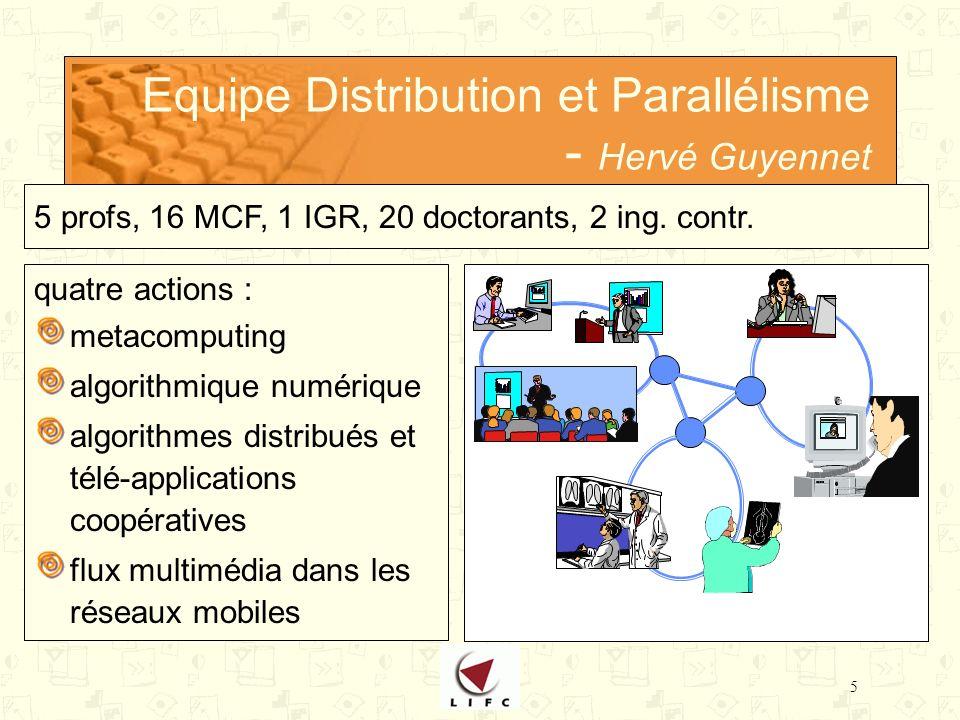 5 Equipe Distribution et Parallélisme - Hervé Guyennet quatre actions : metacomputing algorithmique numérique algorithmes distribués et télé-applications coopératives flux multimédia dans les réseaux mobiles 5 profs, 16 MCF, 1 IGR, 20 doctorants, 2 ing.