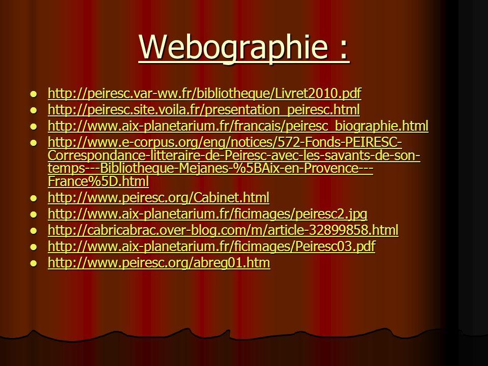 Webographie : http://peiresc.var-ww.fr/bibliotheque/Livret2010.pdf http://peiresc.var-ww.fr/bibliotheque/Livret2010.pdf http://peiresc.var-ww.fr/bibli