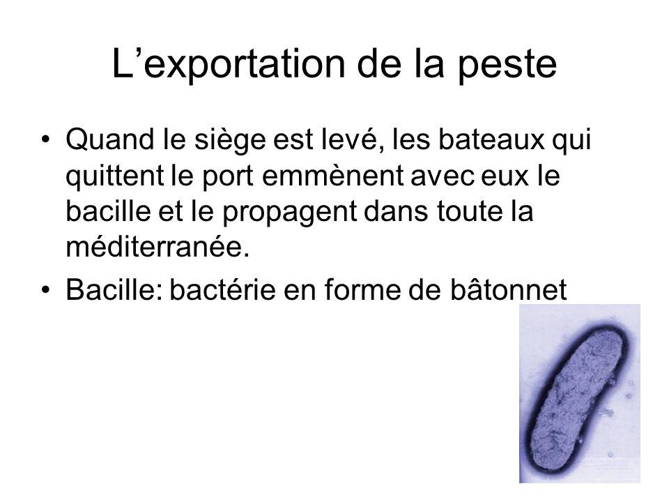 Lexportation de la peste Quand le siège est levé, les bateaux qui quittent le port emmènent avec eux le bacille et le propagent dans toute la méditerr
