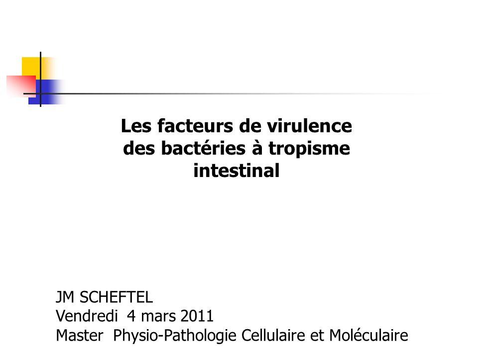 Les facteurs de virulence des bactéries à tropisme intestinal JM SCHEFTEL Vendredi 4 mars 2011 Master Physio-Pathologie Cellulaire et Moléculaire