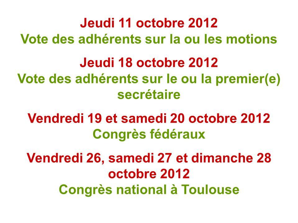 Jeudi 11 octobre 2012 Vote des adhérents sur la ou les motions Jeudi 18 octobre 2012 Vote des adhérents sur le ou la premier(e) secrétaire Vendredi 19 et samedi 20 octobre 2012 Congrès fédéraux Vendredi 26, samedi 27 et dimanche 28 octobre 2012 Congrès national à Toulouse
