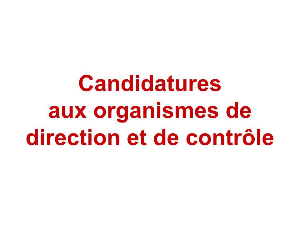 Candidatures aux organismes de direction et de contrôle