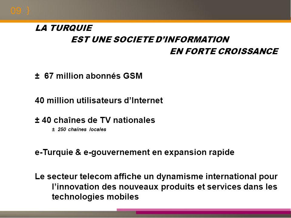 09 LA TURQUIE EST UNE SOCIETE DINFORMATION EN FORTE CROISSANCE ± 67 million abonnés GSM 40 million utilisateurs dInternet ± 40 chaînes de TV nationale