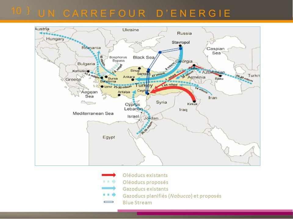 10 U N C A R R E F O U R D E N E R G I E Oléoducs existants Oléoducs proposés Gazoducs existants Gazoducs planifiés (Nabucco) et proposés Blue Stream