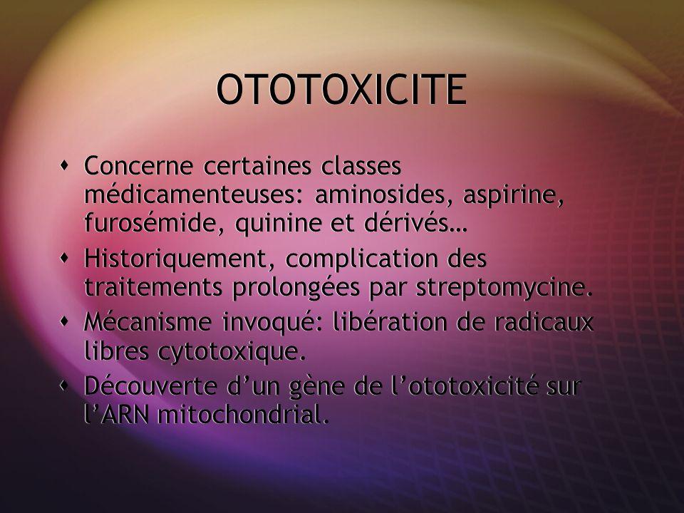 OTOTOXICITE Concerne certaines classes médicamenteuses: aminosides, aspirine, furosémide, quinine et dérivés… Historiquement, complication des traitem