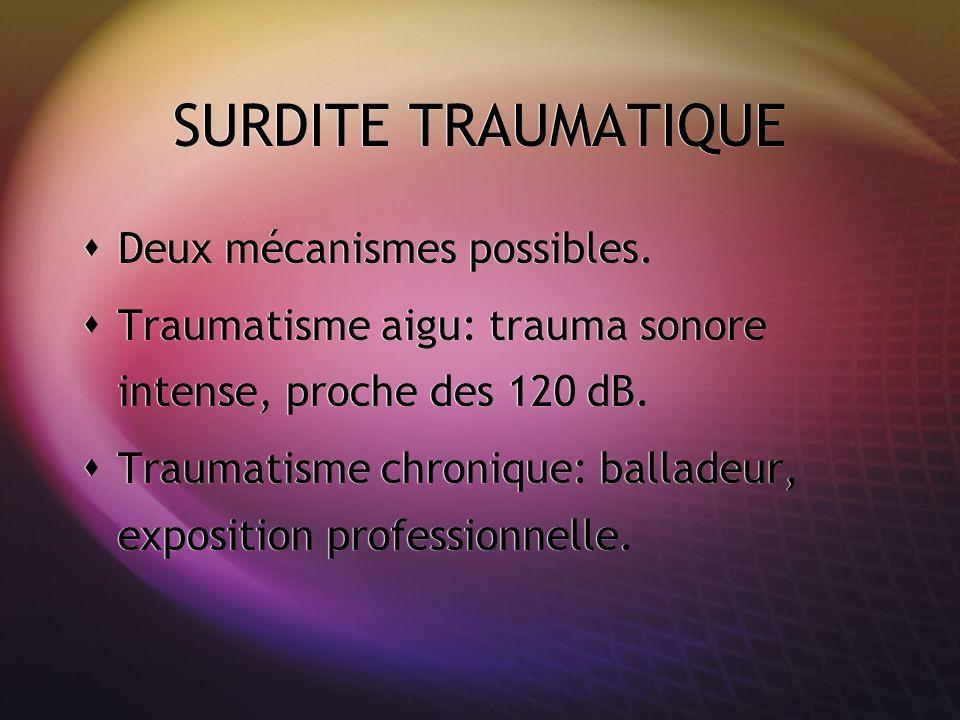 SURDITE TRAUMATIQUE Deux mécanismes possibles. Traumatisme aigu: trauma sonore intense, proche des 120 dB. Traumatisme chronique: balladeur, expositio