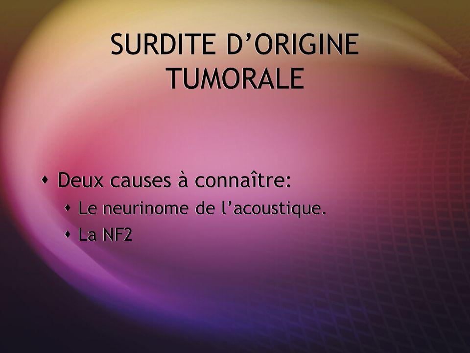 SURDITE DORIGINE TUMORALE Deux causes à connaître: Le neurinome de lacoustique. La NF2 Deux causes à connaître: Le neurinome de lacoustique. La NF2