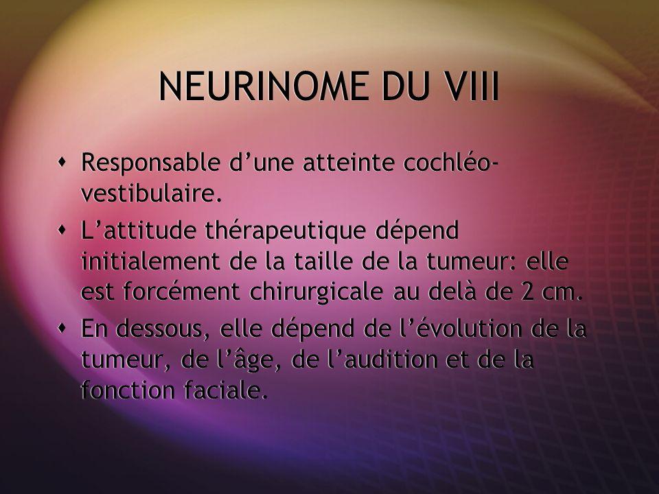 NEURINOME DU VIII Responsable dune atteinte cochléo- vestibulaire. Lattitude thérapeutique dépend initialement de la taille de la tumeur: elle est for
