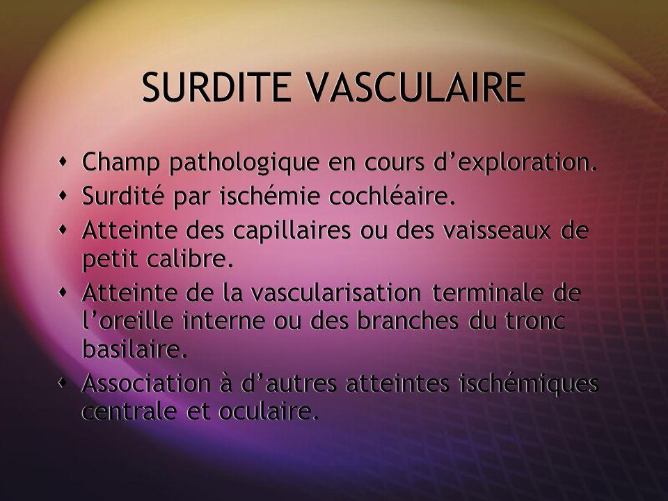 SURDITE VASCULAIRE Champ pathologique en cours dexploration. Surdité par ischémie cochléaire. Atteinte des capillaires ou des vaisseaux de petit calib