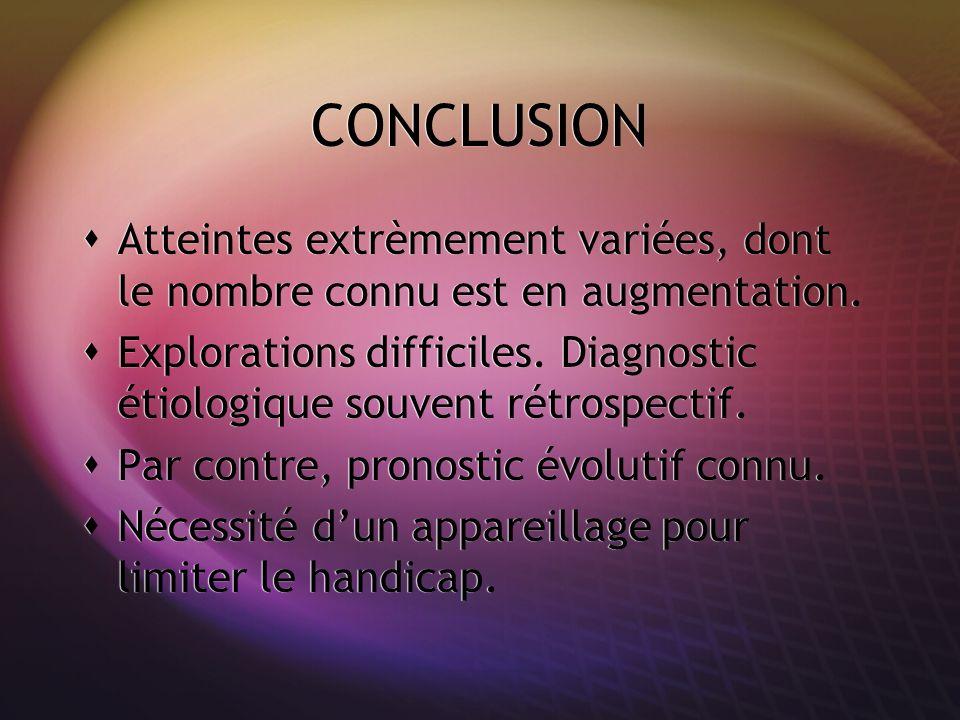 CONCLUSION Atteintes extrèmement variées, dont le nombre connu est en augmentation. Explorations difficiles. Diagnostic étiologique souvent rétrospect