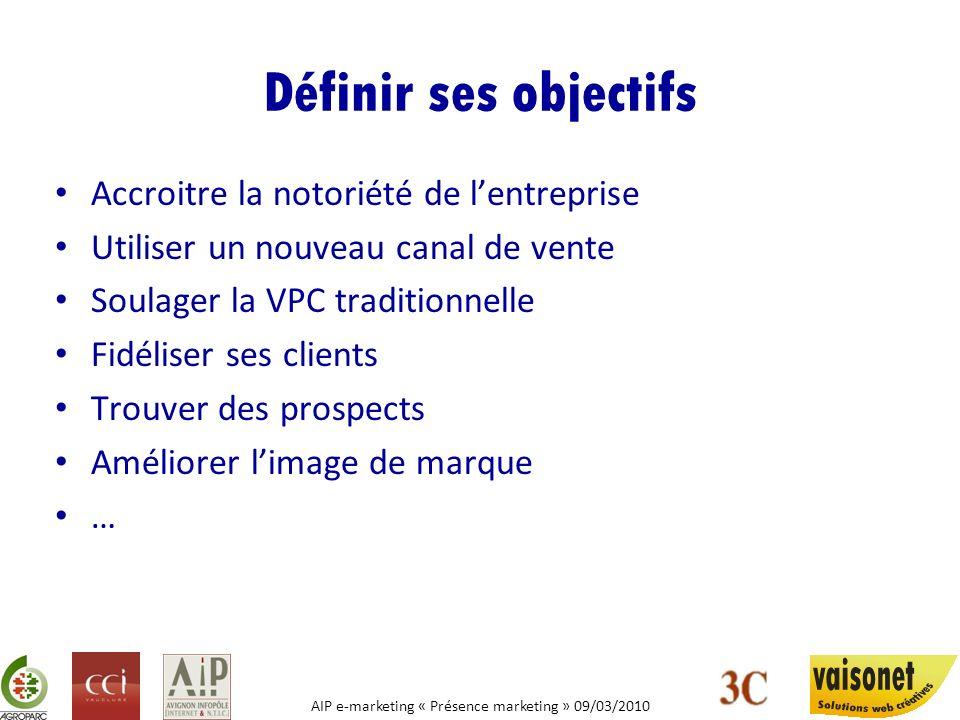 AIP e-marketing « Présence marketing » 09/03/2010 Définir ses objectifs Accroitre la notoriété de lentreprise Utiliser un nouveau canal de vente Soula