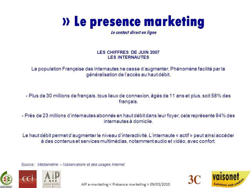 AIP e-marketing « Présence marketing » 09/03/2010 » Le presence marketing Le contact direct en ligne LES CHIFFRES DE JUIN 2007 LES INTERNAUTES La popu