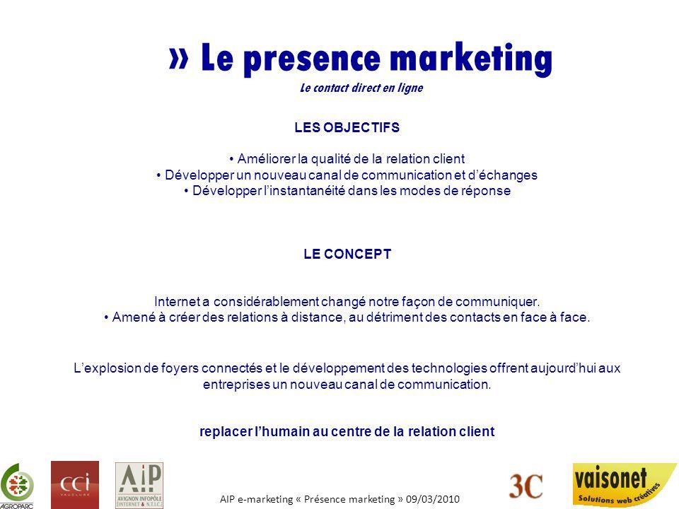 AIP e-marketing « Présence marketing » 09/03/2010 » Le presence marketing Le contact direct en ligne LES OBJECTIFS Améliorer la qualité de la relation