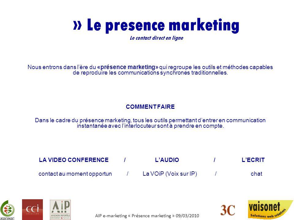 AIP e-marketing « Présence marketing » 09/03/2010 » Le presence marketing Le contact direct en ligne LA VIDEO CONFERENCE Elément qui a mis le plus de temps à se mettre en place.